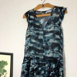 Theory blue silk Cubist Plaid dress size 4